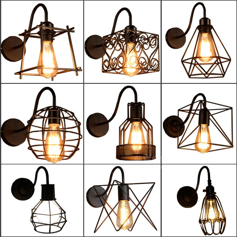 Iron black lampshade wall lamp vintage cage guard sconce loft lighting fixture modern Wall Sconce indoor lighting wall lamps