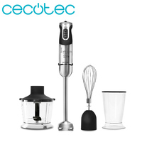 Cecotec Hand Mixer TITANIUM 1000 Full 1000 W with Foot XL Extra Long Electric Blender Stainless Steel Mixer with 21 Speeds