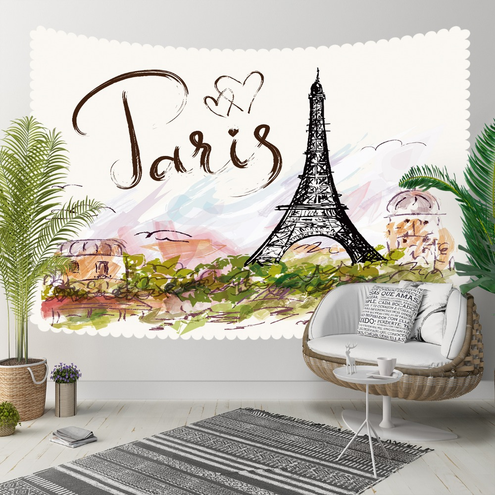 Else Paris Writen Eiffel Tower Green Floral Hearts 3D Print Decorative Hippi Bohemian Wall Hanging Landscape Tapestry Wall Art