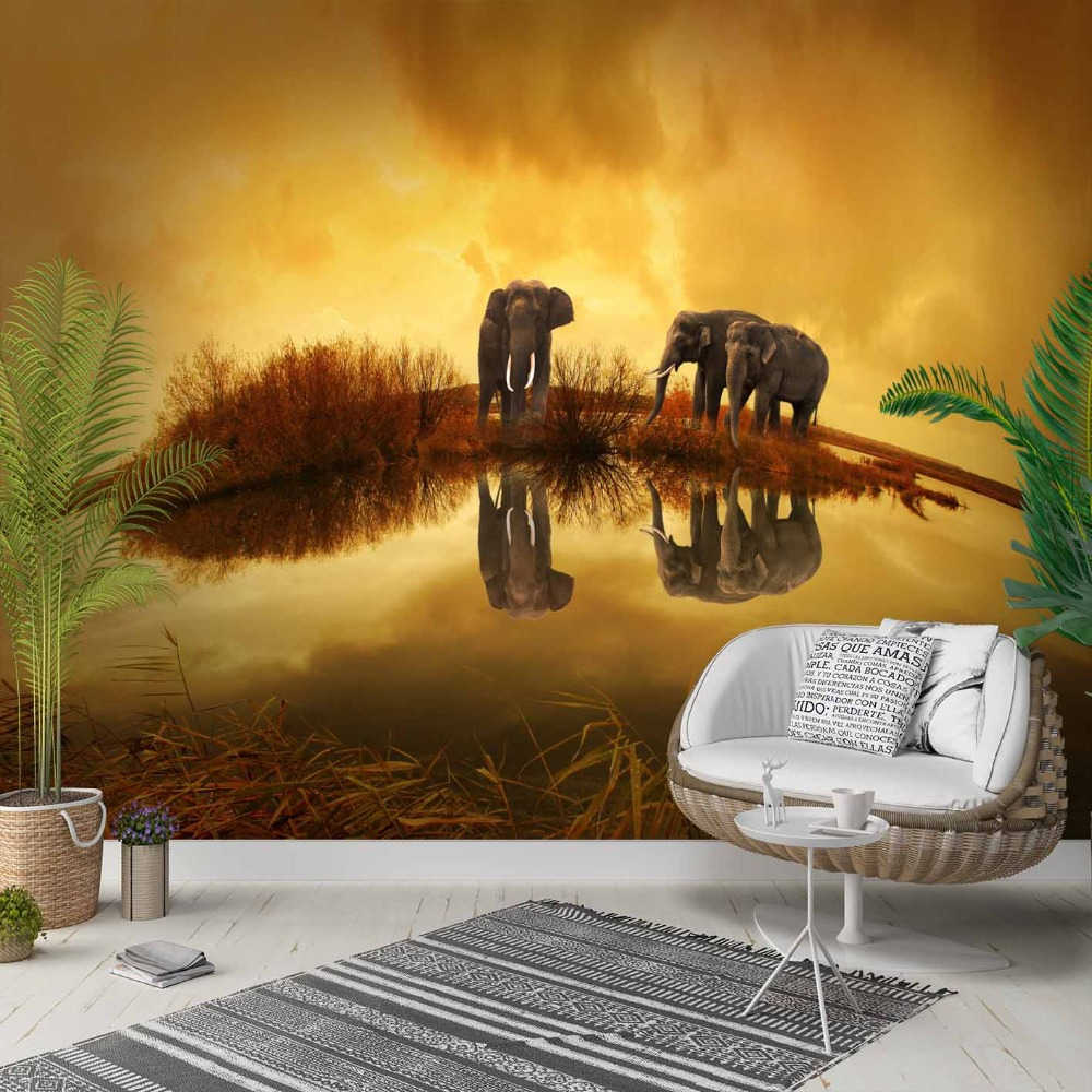 Else Yellow Brown African Sun Set Elephants 3d Photo Cleanable Fabric Mural Home Decor Living Room Bedroom Background Wallpaper