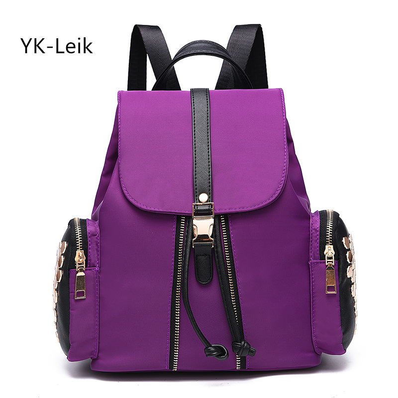 YK Leik Brand designer Fashion Casual Backpack Women Shiny Rivets High Quality Wear Resistance Oxford Ladies