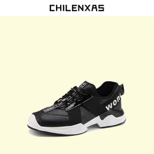 CHILENXAS 2017 Autumn Winter Leather Men Casual Shoes Lace up British Style Breathable Height Increasing Waterproof Solid New