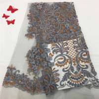 Nigerian Tulle Lace Fabrics 2018 Elegance gray African Lace Fabric/ High Quality French Mesh Lace Fabric gray F1055 2