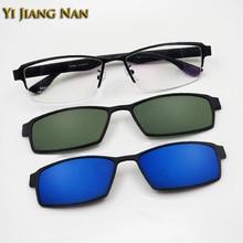 Yi Jiang Nan Brand Half Rim Men Optical Glasses Frame Alloy with TR 90 Legs Prescription Eyeglasses Clip On Model 9317