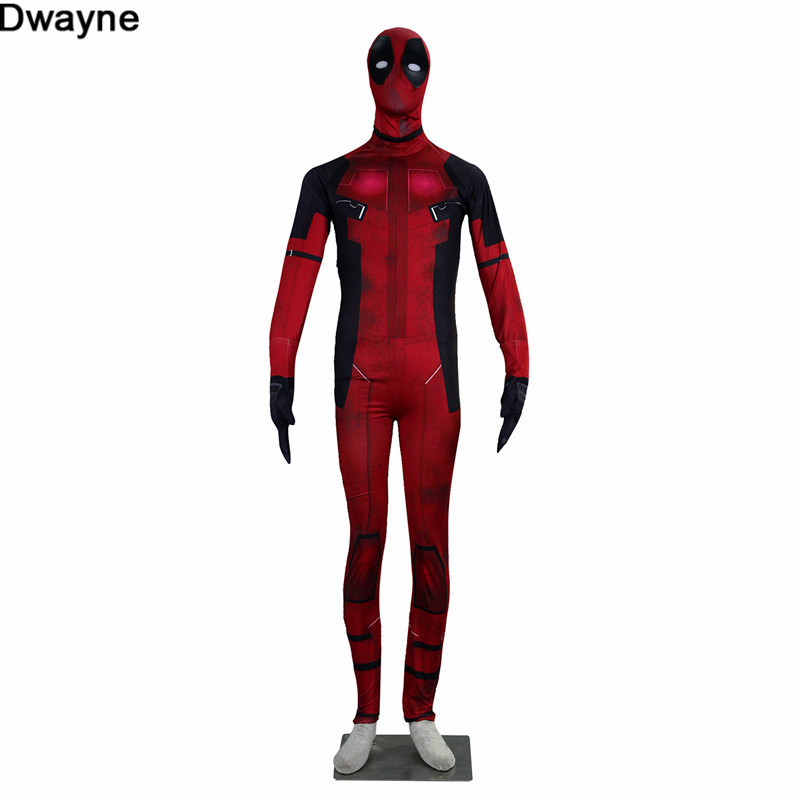 Anti Superhero Deadpool Cosplay Costumes for Adults and Kids Distressed Zentai Outfit with Mask Plus Size XS-3XL