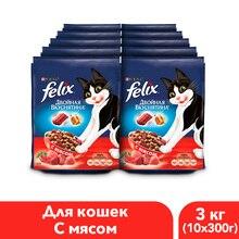 Felix Двойная вкуснятина сухой корм для кошек с мясом, 3 кг.