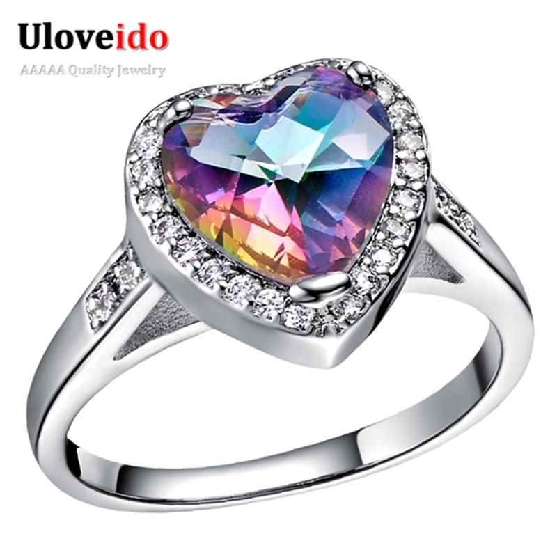 Uloveido Heart Rainbow Engagement Rings For Women Wedding