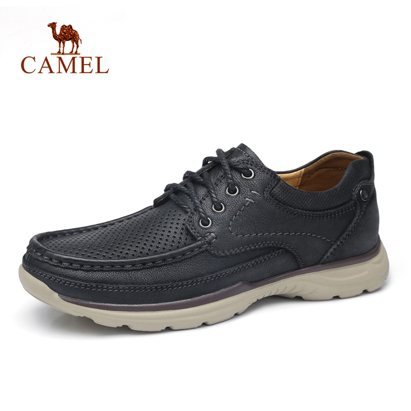 CAMEL Genuine Leather Men's Shoes Spring Summer Soft Cowhide Men's Loafers Lightweight Breathable Hole Men Casual Shoes