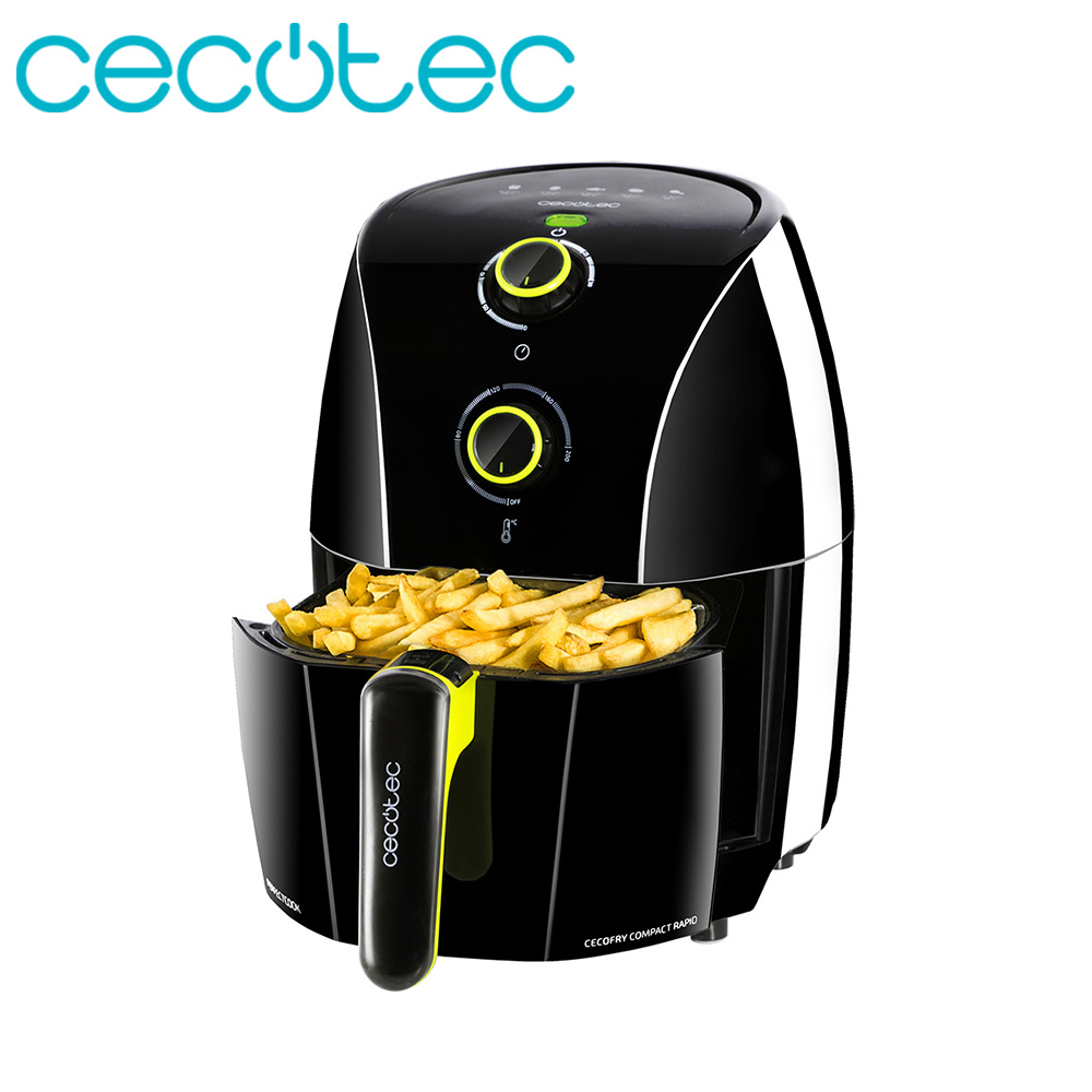 Cecotec Cecofry Compact Rapid Black1.5L Oil Free Fryer Healthy Food Programmable In Time And Temperature Includes Cookbook