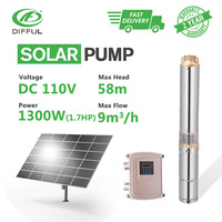 4 DC Deep Well Bore Water Solar Pump 110V 1300W Stainless Steel MPPT Controller Brushless Submersible (Head 58m, Flow 9T/H)
