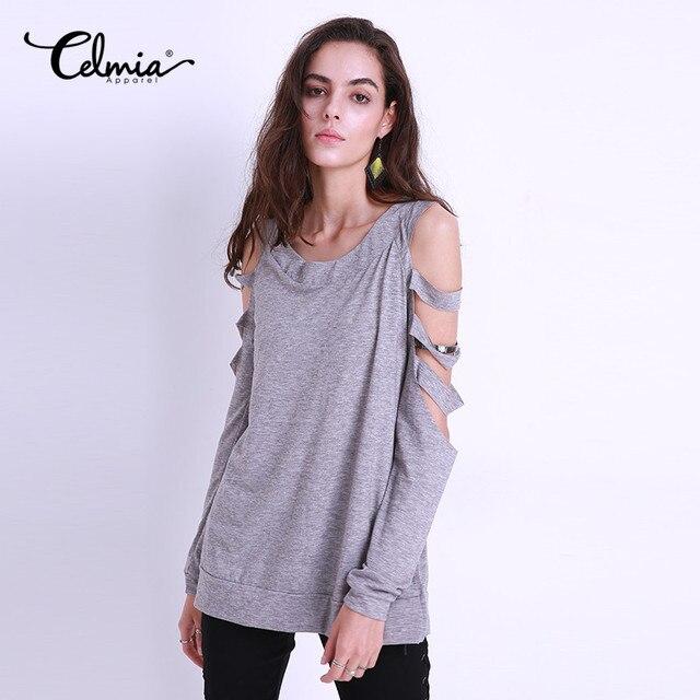 fc9ac14c591a6 Celmia Grey T Shirt Women Long Sleeve Cold Shoulder Tops 2018 Autumn Loose  Plain Tees Sexy