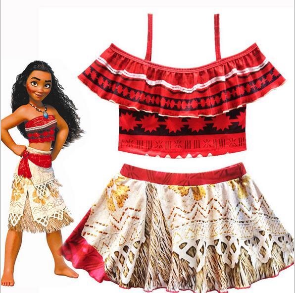 Children Trolls Moana Biquini Infantil Costume Swim Wear Clothing Girls Summer Beach Bikini Dresses For Kids Swimsuits Clothes