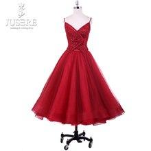שתי חתיכות שיבה הביתה שמלת תחרה אפליקציות יד חרוזים ספגטי סיום שמלות Jusere 2018 Robe דה Soiree קצר מפלגת שמלות