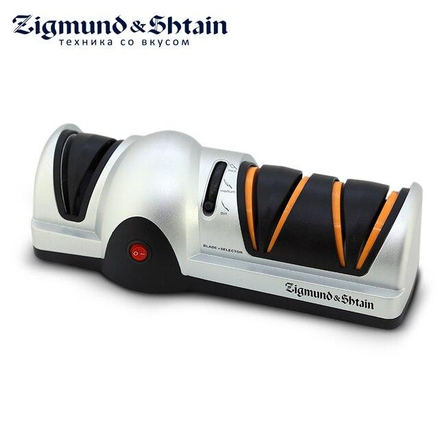 Zigmund & Shtain ZKS-911 Электрическая ножеточка SHARPPROFI, 60 Вт, Корундовые самозатачивающиеся диски, 3 ступени профессиональной заточки, Затачивает ножи из нержавеющей, легированной и углеродистой стали
