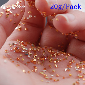15 Color Small Gravel New 20g Broken Glass Rhinestone Shiny Irregular Colored Glass Special 3D Nail Decoration Nail Products