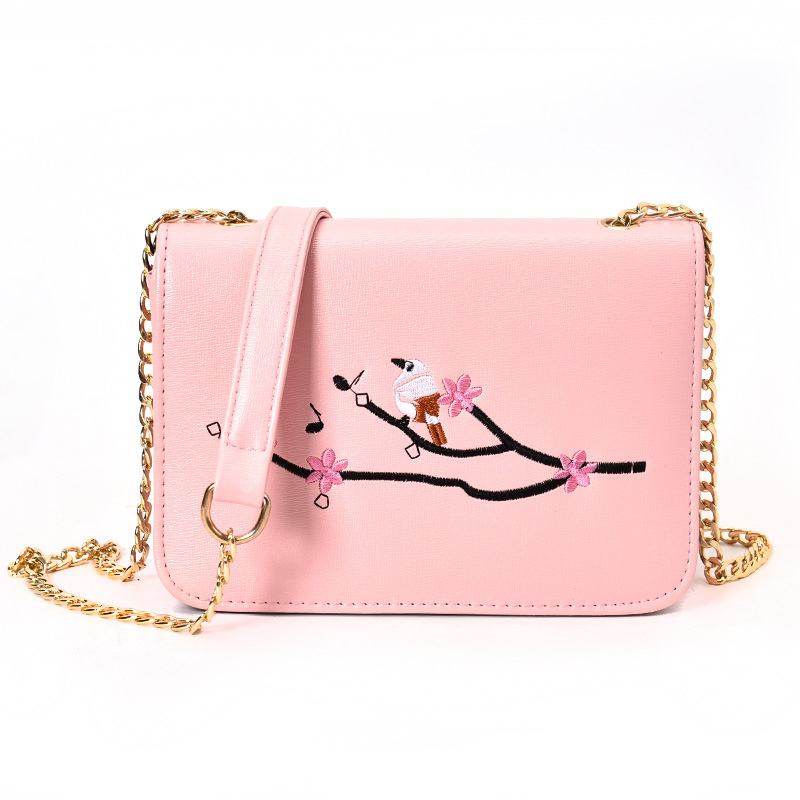 Embroidery Flower Shoulder Bag Leather Mini Flap Chain Bag Small Crossbody Purse Cute Messenger ...