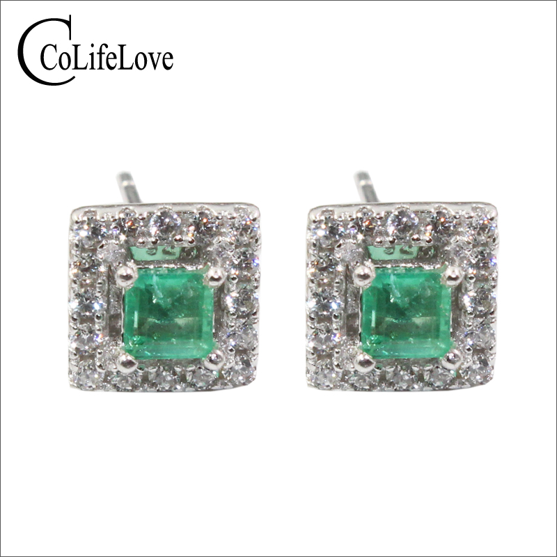 Dazzling emerald stud earrings 2.mm SI grade natural emerald earrings solid 925 silver emerald earrings  small gemstone earringsDazzling emerald stud earrings 2.mm SI grade natural emerald earrings solid 925 silver emerald earrings  small gemstone earrings