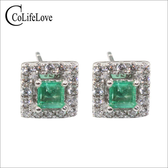 Dazzling Emerald Stud Earrings 2 Mm Si Grade Natural Solid 925 Silver
