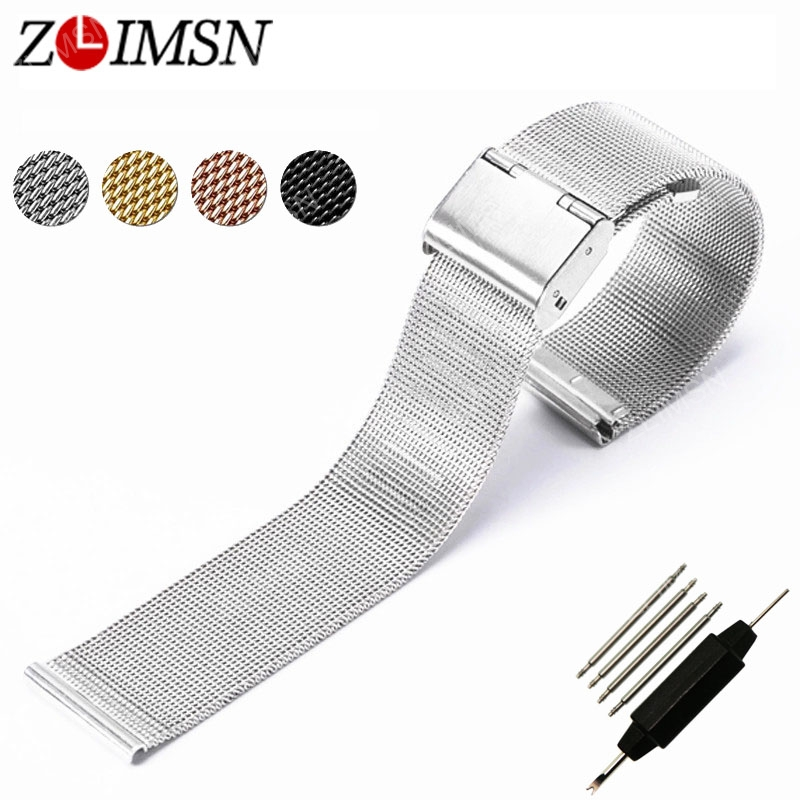 ZLIMSN Mesh Edelstahl Uhrenarmband Armband Uhrenarmbänder Silber - Uhrenzubehör - Foto 3