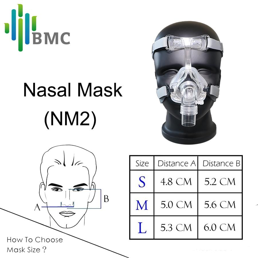BMC NM2 maska nosowa z nakryciem głowy i pad S/M/L różne rozmiary nadaje się do maszyna CPAP Oxygenerator podłącz wąż i twarz