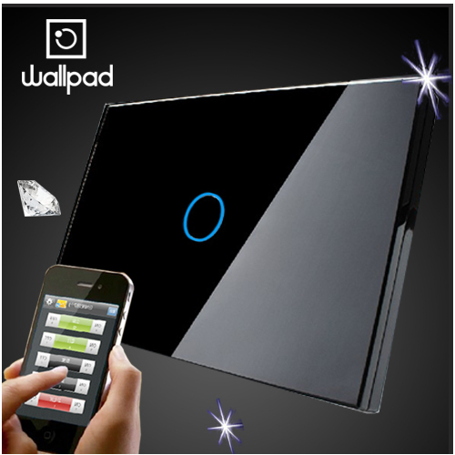 118 US Norm 1 Gang Crystal Glass Black Wifi Light Switch,Wallpad Wireless Remote control wall touch light switch,Free Shipping smart home us black 1 gang touch switch screen wireless remote control wall light touch switch control with crystal glass panel