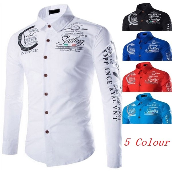 New Autumn And Winter Men's Shirt Printing Casual Long Sleeve And Short Sleeve Shirt
