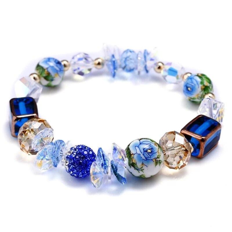 SWAN JEWELRY fine handmade Luxury crystal elegant blue glass beads graceful hand painted circular charm bracelet Girl jewelery graceful multilayered pentagram charm bracelet for women