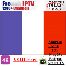 Promotion Neotv pro French Iptv subscription Live TV VOD Movies channels French Arabic UK Europe Neo one year Smart TV mag box недорого