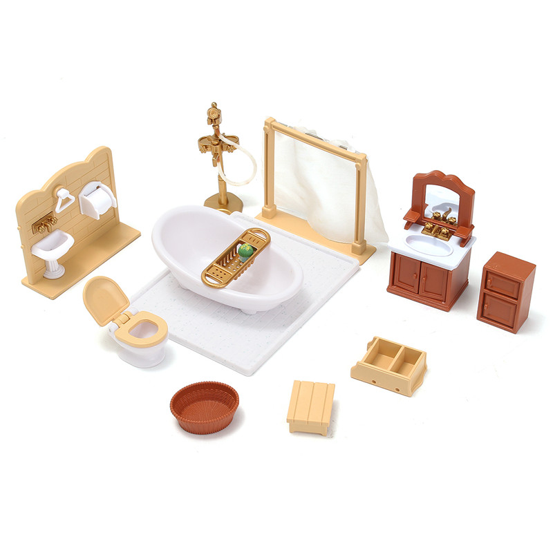 New Miniatures Sofa Bedroom Bathroom Dining Table Furniture Sets For Doll House Craft Toys Accessories Christmas Birthday Gift