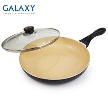 Сковорода с крышкой Galaxy GL 9817 (Диаметр 26 см, высококачественный алюминий, керамическое покрытие Excilon, крышка из жаропрочного стекла, индукционное дно, подходит для все типов плит)