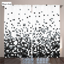 Curtains Geometric Living Room Bedroom Geometric Cubes Squares Abstract Decor Collection Gray White 290x265 cm home