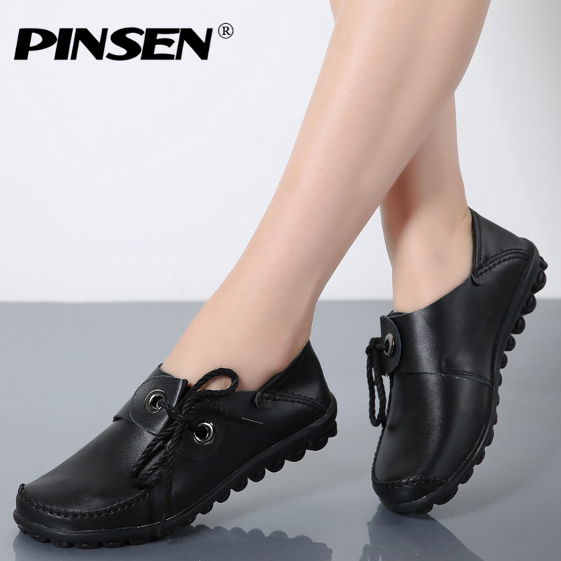 PINSEN Genuine Leather Winter Women's Loafers Lace Up Women Flat Boat Shoes Woman Bowtie Ballet Flats Shoes With Fur Mocassin sexemara fashion handwork genuine leather real wool fur women shoes loafers peas shoes woman warm winter flats shoes