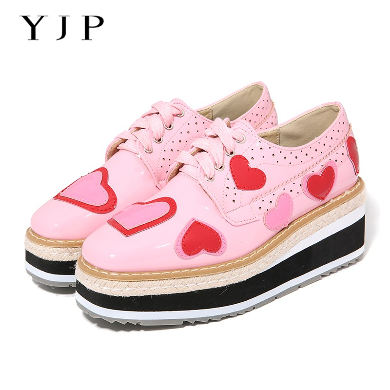 YJP Women Wedges, Black/Pink Sweet Heart Shape Oxfords Platform Shoes, Ladies Cut-outs Patent Leather Brogue Casual Flat Sneaker ladies casual platform wedges oxford shoes for women metallic pu cut outs women high heels summer brogue oxfords shoes woman