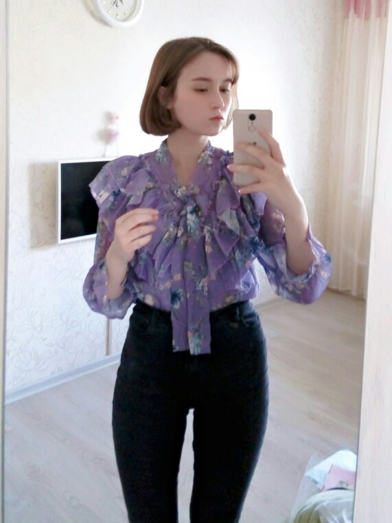 Cute Sweet Bow Tie Tops Hot Sales Women Korean Style Bow Blouses Shirts Female Girls Purple Floral Vintage Top Blouse photo review