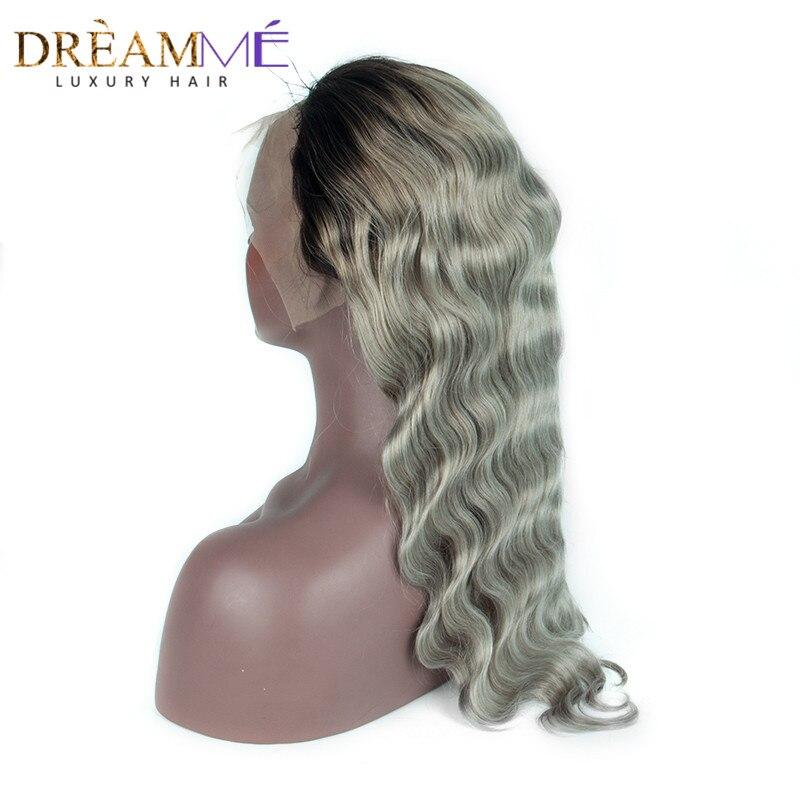 1B Gris Couleur Brésilienne de Vague de Corps Avant de Lacet Perruques de Cheveux Humains Ombre Argent Gris Perruques avec Bébé Cheveux Pour Noir femme Remy Cheveux