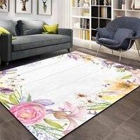 Mais de Madeira Cinza Amarelo Rosa Verde Flor Floral 3d Impressão Antiderrapante Microfibra Sala Decorativo Moderno Lavável Tapete de Área mat|Tapete| |  -