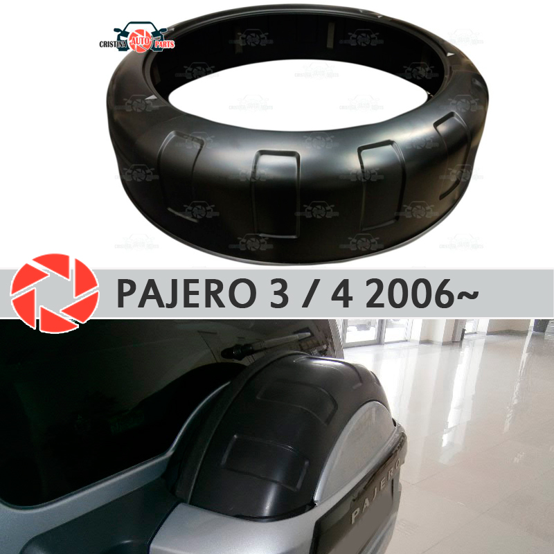 Spare wheel box for Mitsubishi Pajero 3/4 2006~ on on the rear door protective cover ABS plastic decoration car styling tuning 4pcs 146mm wheel center hub caps rims cover 6 holes car emblem car badge for audi fit for tt 8n0601165a free shipping
