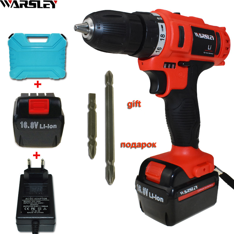 16.8V Electric Screwdriver Power Tools Cordless Drill Electric Electric Drill Tools Mini Battery Drill Electric Drilling Eu Plug dongcheng 220v 1010w electric impact drill darbeli matkap power drill stirring drilling 360 degree rotation power tools