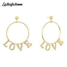 Lateefah 1 Pair Personalized Custom Name Earrings Women Customize Initial Cursive Nameplate Earring Gift For Friend Girls
