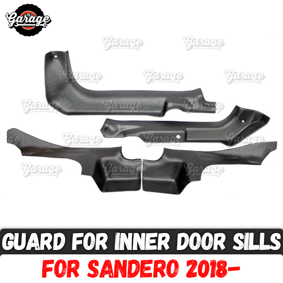 Guards of inner door sills for Renault Dacia Sandero 2018 ABS plastic accessories protect of carpet
