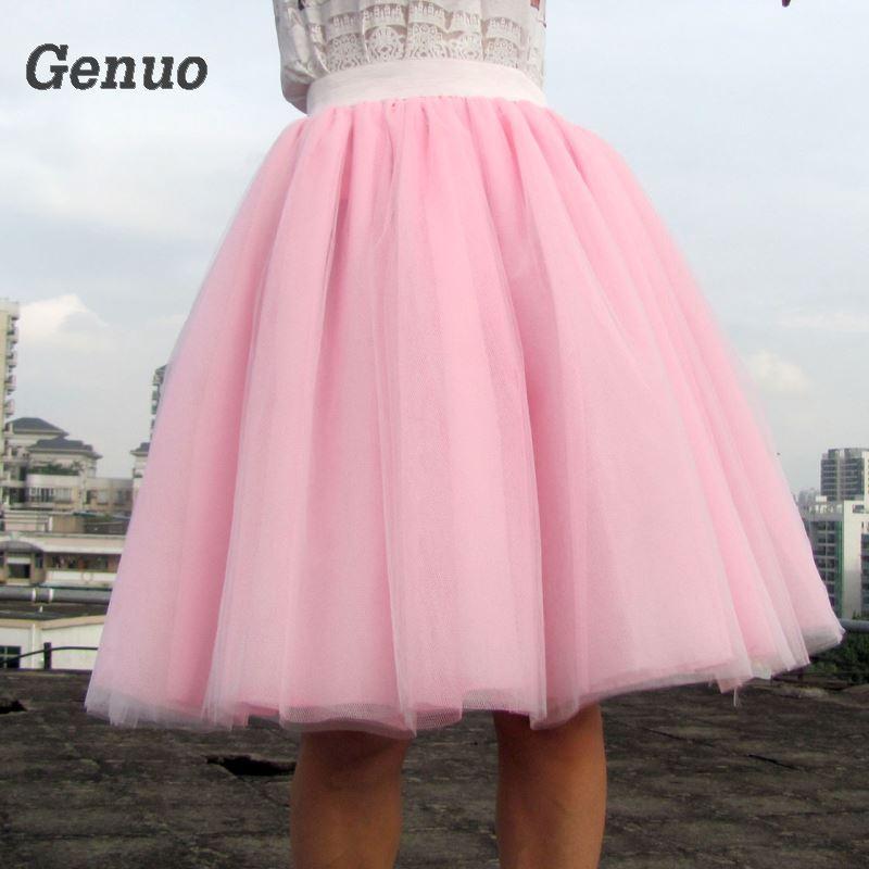 5fda493ec Genuo Women Chiffon Tulle Skirt White faldas High waist Midi Knee Length  Chiffon plus size Grunge Jupe Female Tutu Skirts