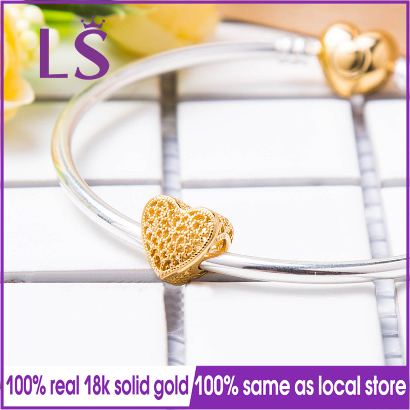 LS 2018 New 100 Real Gold Filled with Romance Charm Fit Original Bracelets Pulseira Encantos Beads