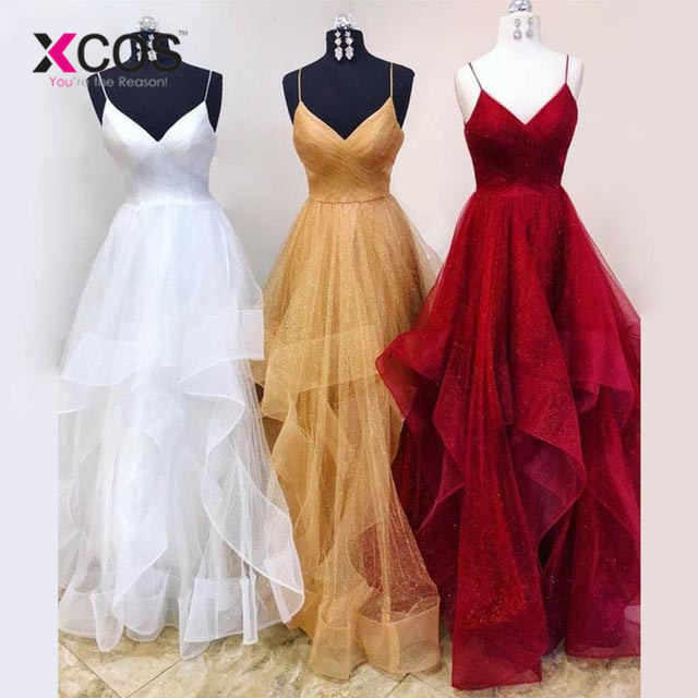 XCOS 2018 Simple Golden   Prom     Dresses   Long Spaghetti Tulle Pleats Party Evening   Dress   Vestido De Festa