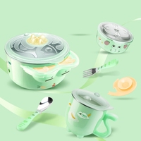 6Pcs Baby Infant Dinnerware Set Warm Insulation Bowls Spoon Fork Cup Nonslip Suction Cup Bowl Kids
