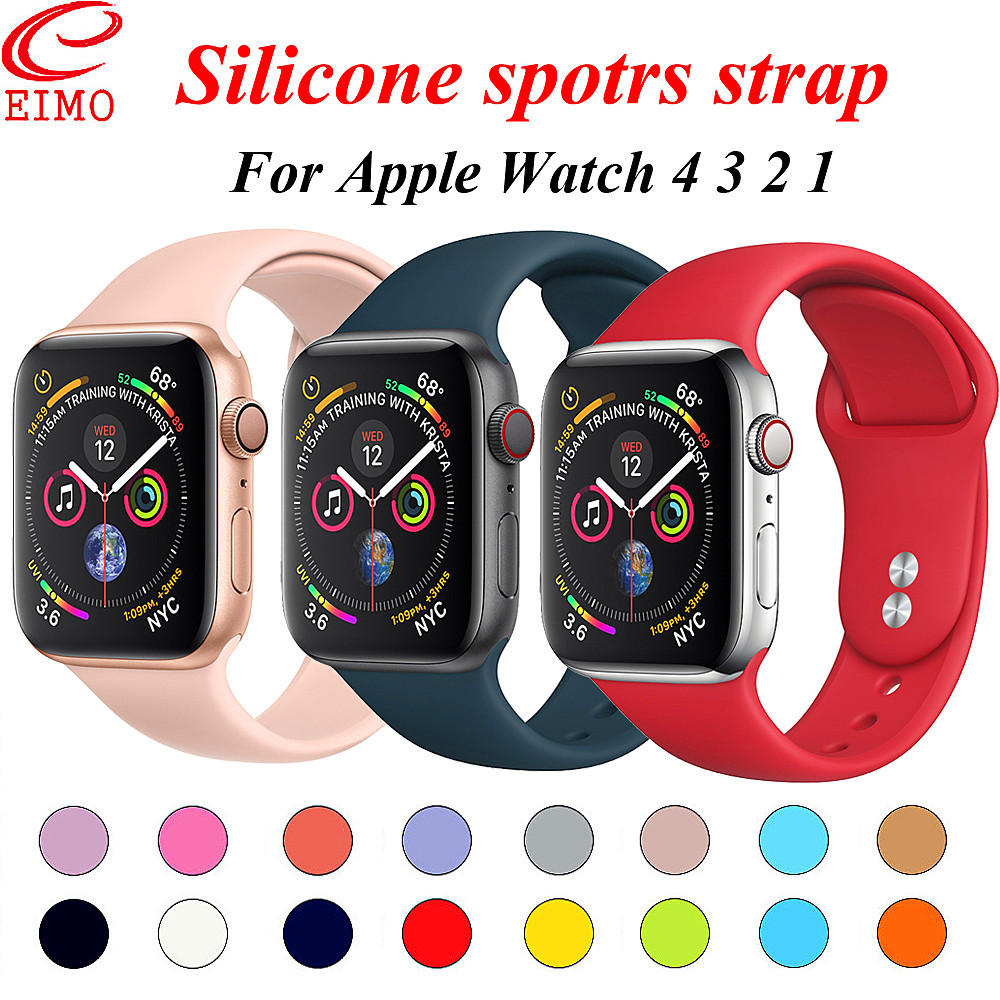 Sport strap For Apple Watch Band 42mm 38mm Iwatch 4 3 band 44mm 40mm correa Silicone Bracelet wrist Watchband watch Accessories