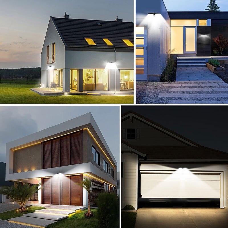 Date 4 pièces 80 LED 3 Modes jardin lampes LED solaires extérieur solaire applique étanche IP65 solaire économie d'énergie sécurité lumière - 6