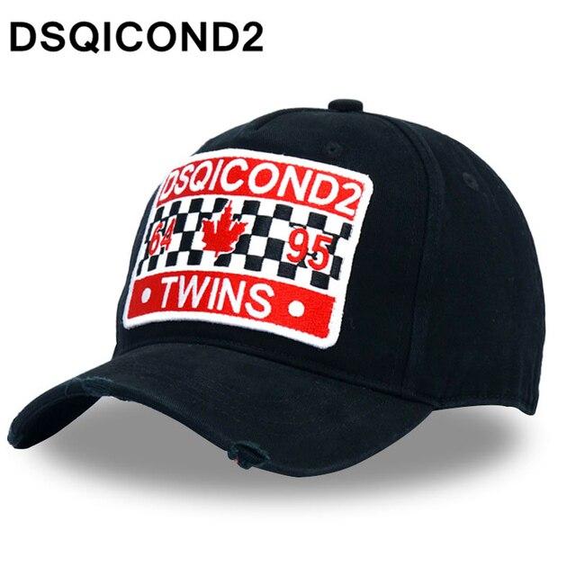 Dsqicond2 applique algodón Gorras de béisbol DSQ letras de béisbol negro  casquillo hombres womenbonnet hombre boina fbb95bb3257