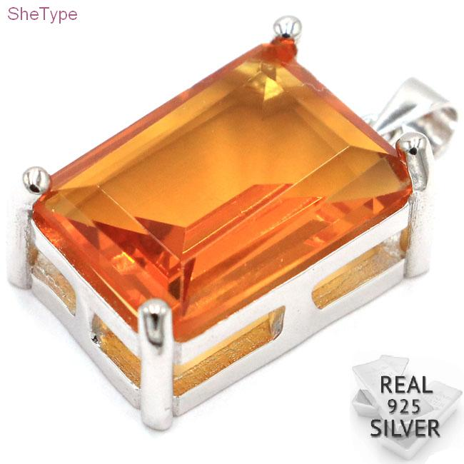 SheType 7.0g 18x13mm Rectangle Golden Citrine CZ Gift For Ladies 925 Solid Sterling Silver Pendant 26x14mm