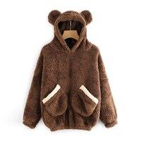 Для женщин коралловый флис пижамы теплые пижамные мягкий медведь уши с капюшоном Топ и штаны комплект