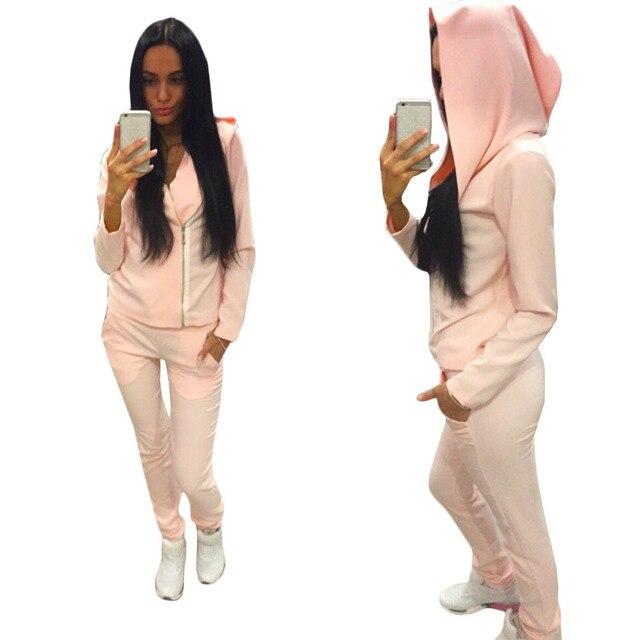 Hot Sale Lady Tracksuit Women Sweatshirt +Pant Track suit 2 Piece Set  Sporting Suit for cf489a603